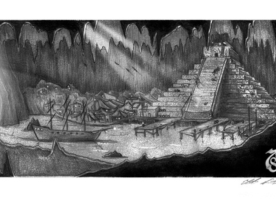 This pyramid miniature concept design illustration was later fabricated into a full set miniature used in a film.