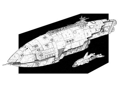This is a miniature spacecraft concept design illustration that was later fabricated for a film.