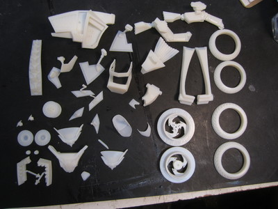 These are the 3D printed pieces to be assembled for the Free Riders design maquettes.
