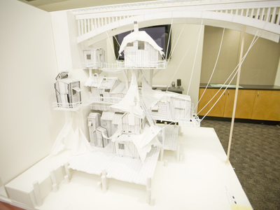 This card model set design mock up including laser cutting and 3D printing was for Disney's Christmas Carol.