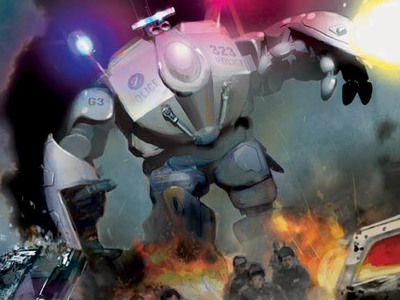 This MORAV Graphic novel cover art we designed depicts the MORAV Gen 3 Giant Police Robot responding to city riots.