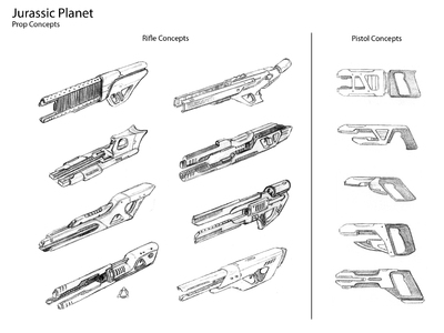 These are the Jurassic Planet rifle and pistol thumbnail design illustration options we created for the film.