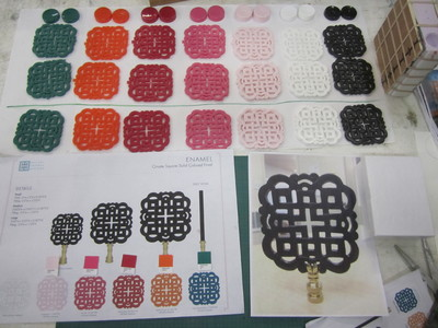 These are plastic color matched samples created for prototype decorative designs.