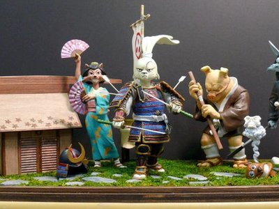 "These are the Usagi Yojimbo Series 1 prototype statues and display diorama we created for a collaboration with Roku to produce the stop motion animated short, ""The Last Request.""   https://youtu.be/fxnmeHHEGeQ"