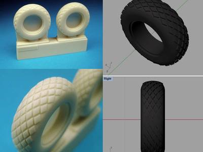 We created these scale miniature tires via computer modeling for 3d printing and manufacturing.