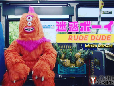 This monster suit for the character Rude Dude for Metro Manners commercials for the Metro Los Angeles was created and fabricated by us and costumed by Castle Corsetry. https://youtu.be/F5MBytszYBY