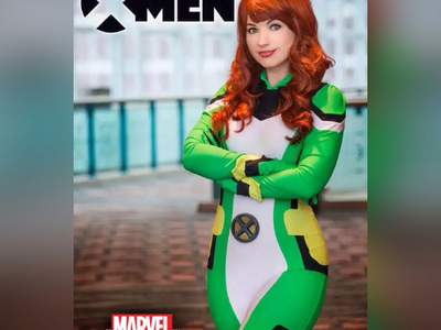 This All-New X-Men Jean Grey uniform worn by Amanda Lynne for Marvel Becoming was designed and created by Castle Corsetry.