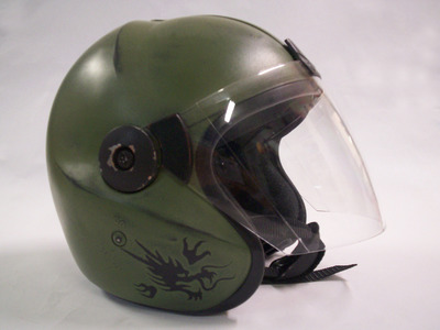 This is a customized fighter pilot helmet from Fonco's giant robot science fiction series MORAV.