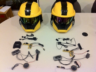 We created these helmets with voice effect electronics and lights for an internal Symantic assembly featuring Sym-man.