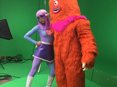 Here is a BTS shot of a commercial we worked on called Metro Manners for the Metro Los Angeles; featuring Anna Akana as SuperKind and ⁠Rude Dude creature in costumes designed and fabricated by Fonco and  Castle Corsetry.