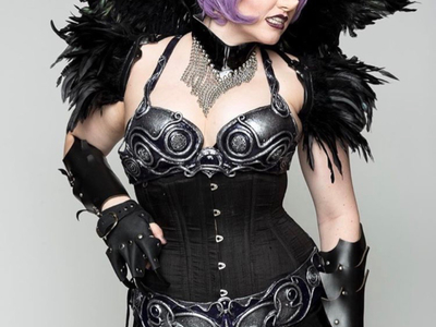 This is a custom waist training corset made by Castle Corsetry for Bernadette Bentley.