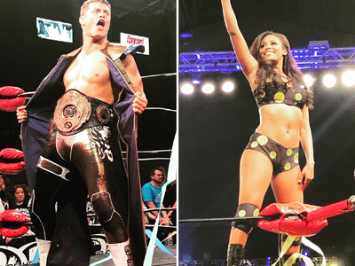 This wrestling costume was made for Brandi Rhodes in honor of her father-in-law Dusty Rhodes, by Castle Corsetry.