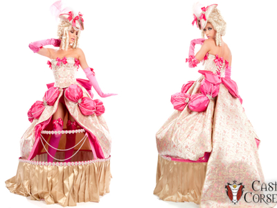 This is a custom Marie Antoinette costume designed and created by Castle Corsetry.