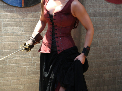 This pirate inspired, asymmetrical corset and skirt was created by Castle Corsetry for a Fonco produced Medieval time traveling music video, directed Fon Davis.
