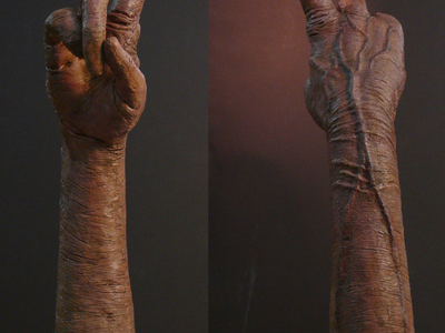 We created this E.T. arm with glowing finger to use in the promotion of the E.T. Extraterrestrial blu ray release.