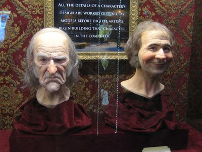 These custom 3D printed molded and cast heads of Jim Carrey as Scrooge and Gary Oldman as Bob Crachit were created for promoting Disney's A Christmas Carol.