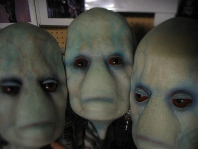 The 3 alien heads were fabricated for the award winning, sci-fi short, The Subject, directed by Fon Davis.