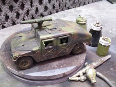 This 1/24 scale Miniature Humvee was created by Fonco and used in multiple productions including MORAV, What Happened, Celebrity Robot Battle and Kaiju Fury.