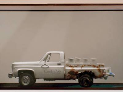 This is a 1/25 scale miniature rusty truck we created for Farmers Insurance for their Hall of Claims ad campaigns.