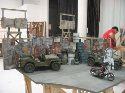 We created this 1/6 scale military compound miniature set with dressing and jeeps for the Brisk Machete stop motion Superbowl commercial. https://youtu.be/_eUZ0-_6LqY