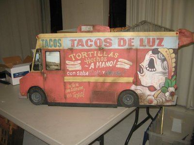 This 1/6th scale taco truck miniature hinged facade was created for the Brisk Machete stop motion commercial featuring Danny Trejo.  https://youtu.be/_eUZ0-_6LqY