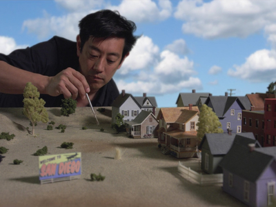 This 1/87th scale flooding town miniature was used by Grant Imahara in the White Rabbit Project Netflix series.
