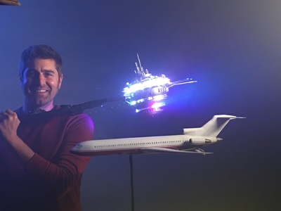 We created this 1/72th scale Boeing 727 miniature and FX lighting UFO miniature that was used by Tory Belleci in the DB Cooper episode of the White Rabbit Project on Netflix.