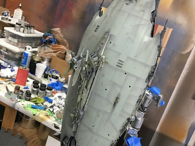 This 1/500 Scale miniature shooting model of an Enemy Battleship spacecraft is getting painted and electrical installed for JAX.