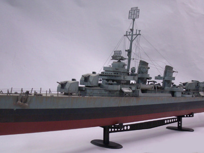 We designed, modeled, and fabricated this 1/72 scale miniature WWII destroyer display model.