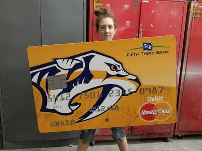 We fabricated this oversized credit card with dimensionally accurate numbers for a bank commercial.