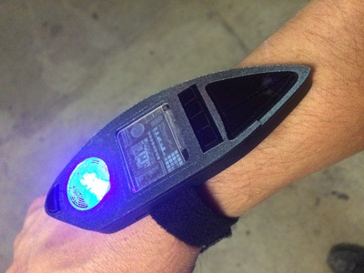 This is a sci-fi wrist computer and holographic communicator we designed and created multiples of for the indie series Space Command.
