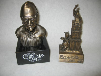 These are crew gifts statues that we 3D printed, molded, cast and painted in large quantities for the films Enchanted and Disney's Christmas Carol.