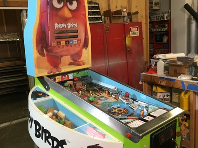 This is a Rovio Angry Birds Pinball Machine we designed and created for the show Super-Fan Builds.
