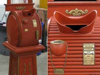We designed and fabricated this custom electric mutoscope built to play a movie trailer for the film Everyone's Hero.