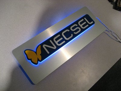 This is a custom fabricated illuminated Necsel sign that we created for the company.