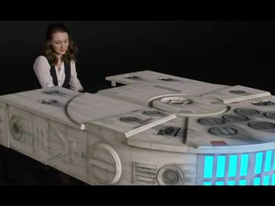 This is a custom Millennium Falcon piano designed and fabricated for the Star Wars Tribute  of the Player Pianos Show featuring pianist Sonya Belousova. http://youtu.be/Yt20uO4cFYs