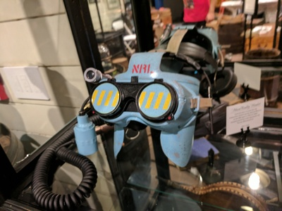 We designed and fabricated this 1950s retro industrial style VR helmet for the Niantic themed lobby in San Francisco.