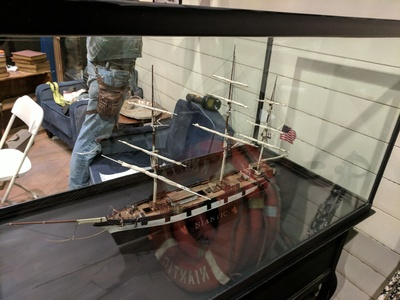 This is a scale model of the ship Niantic we designed and fabricated for the Niantic themed lobby in San Francisco.
