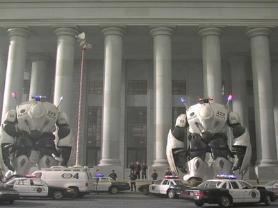 "These miniature MORAV Gen 3 Giant Police Robot are responding to city riots  at the Capital; all this was fabricated and shot for the live action series ""MORAV: Missions."""