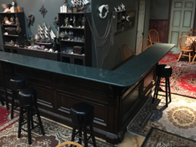 This is our bar standing set, shown here as a pirate bar, can also be dressed as a saloon, café  and modern dive bar.