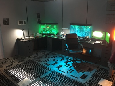 Our space ship set is reconfigurable to suit your specific creative needs; shown here is a laboratory with our set dressing.