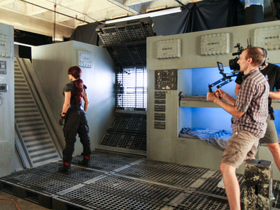 Our space ship set is reconfigurable to suit your specific creative needs; shown here is  small shuttle interior being used for a music video featuring Emii.