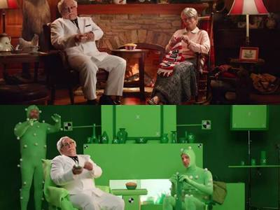 Here's a prank version of a green screen set we created for a KFC commercial.