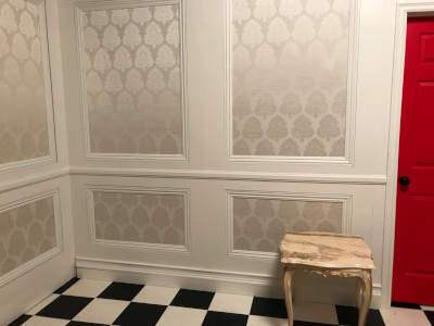 This is our pop-up set of Victorian trimmed walls flats shown here as a white dream sequence room.
