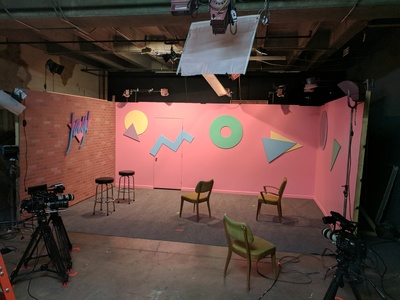 Here's a talk show set we designed and created for the Super Deluxe new media show Jay, featuring Jay Versace.